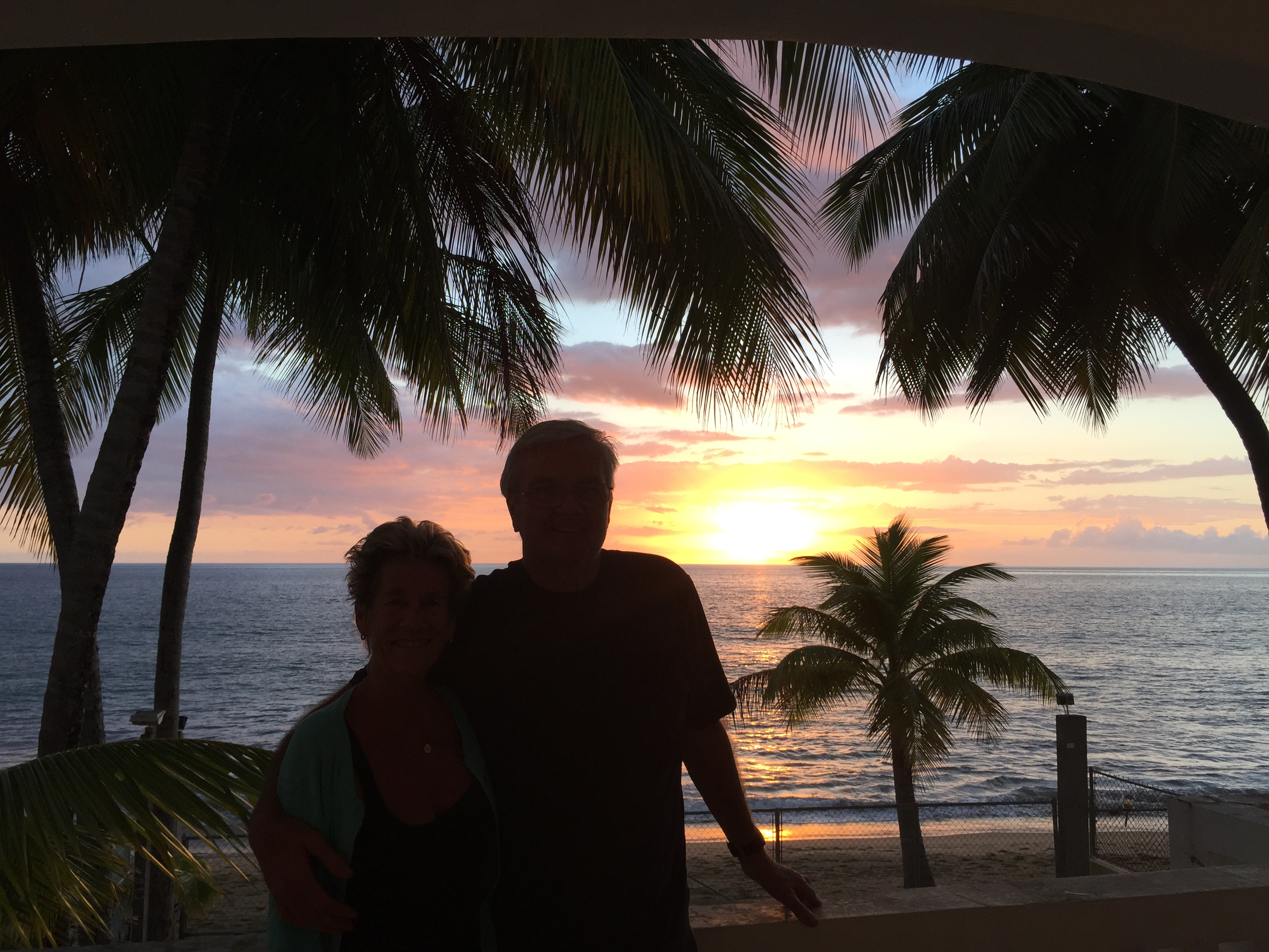 Montauk natives Mary and John McLaughlin enjoying the Puerto Rican sunset in February 2015.